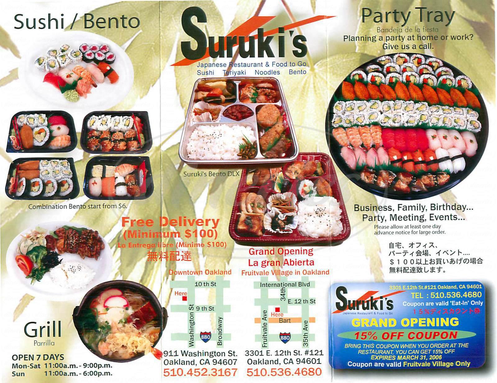 menu for Surukis