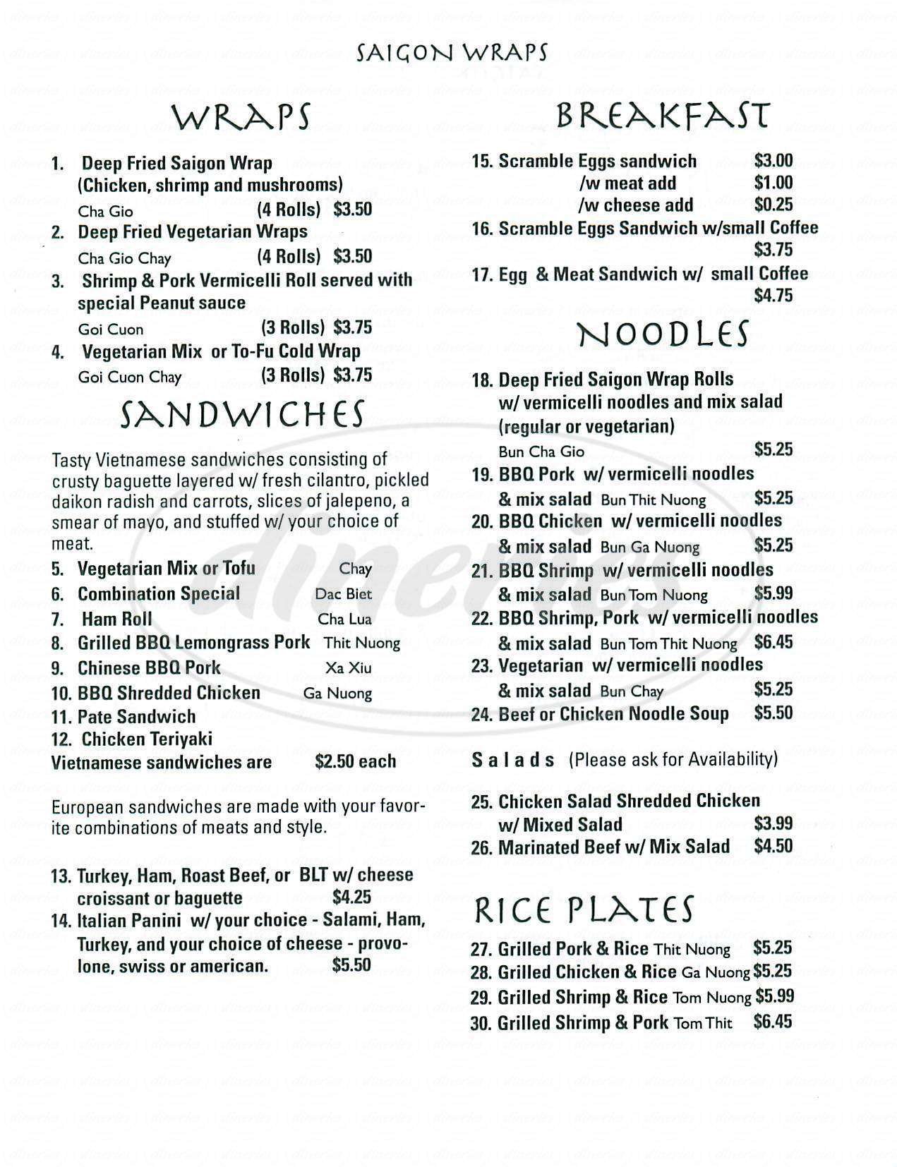 menu for Saigon Wraps