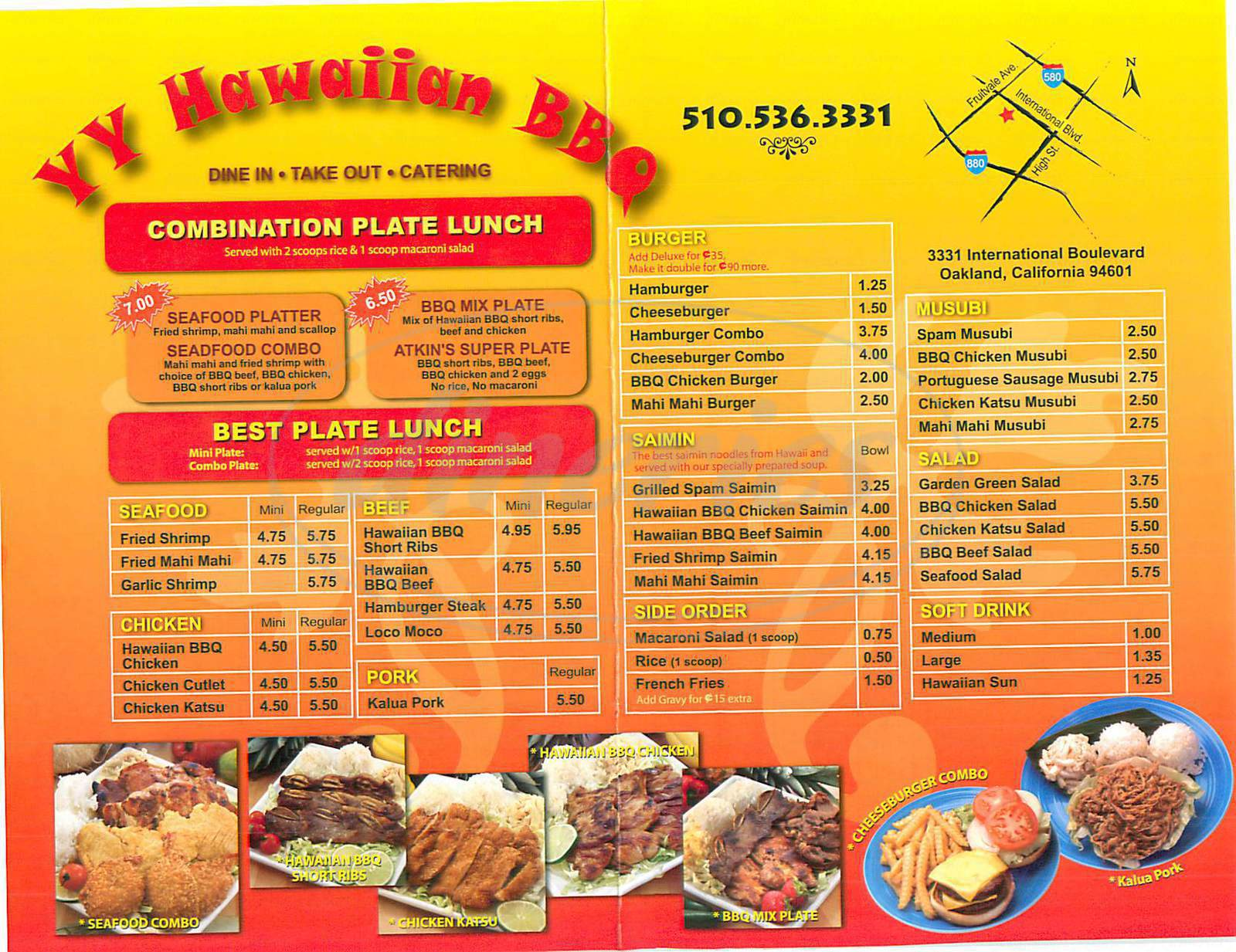 menu for YY Hawaiian BBQ
