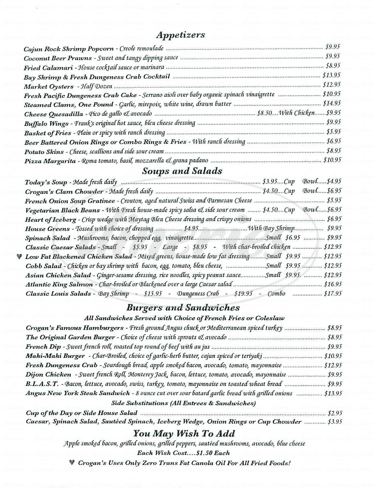 menu for Crogans