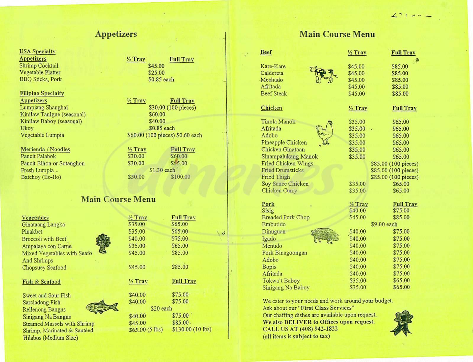 menu for Cocina de Manila