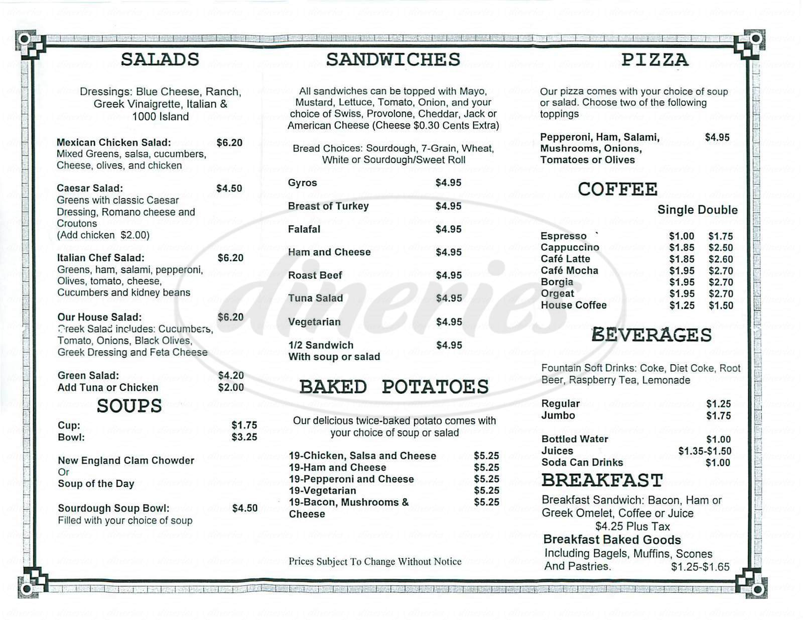 menu for Joe the Greek Cafe