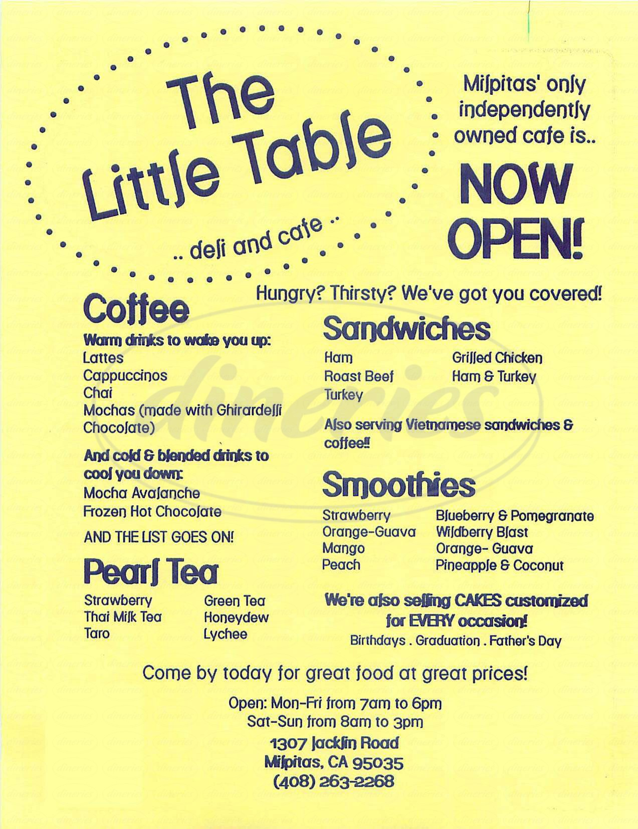 menu for The Little Table