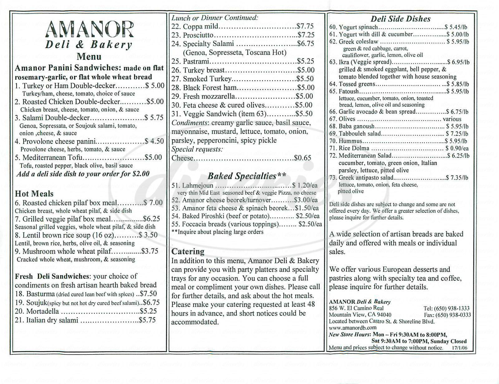 menu for Amanor Deli & Bakery