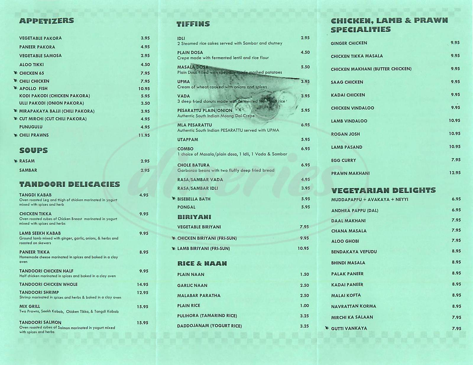 menu for Southern Spice India Bistro & Bar