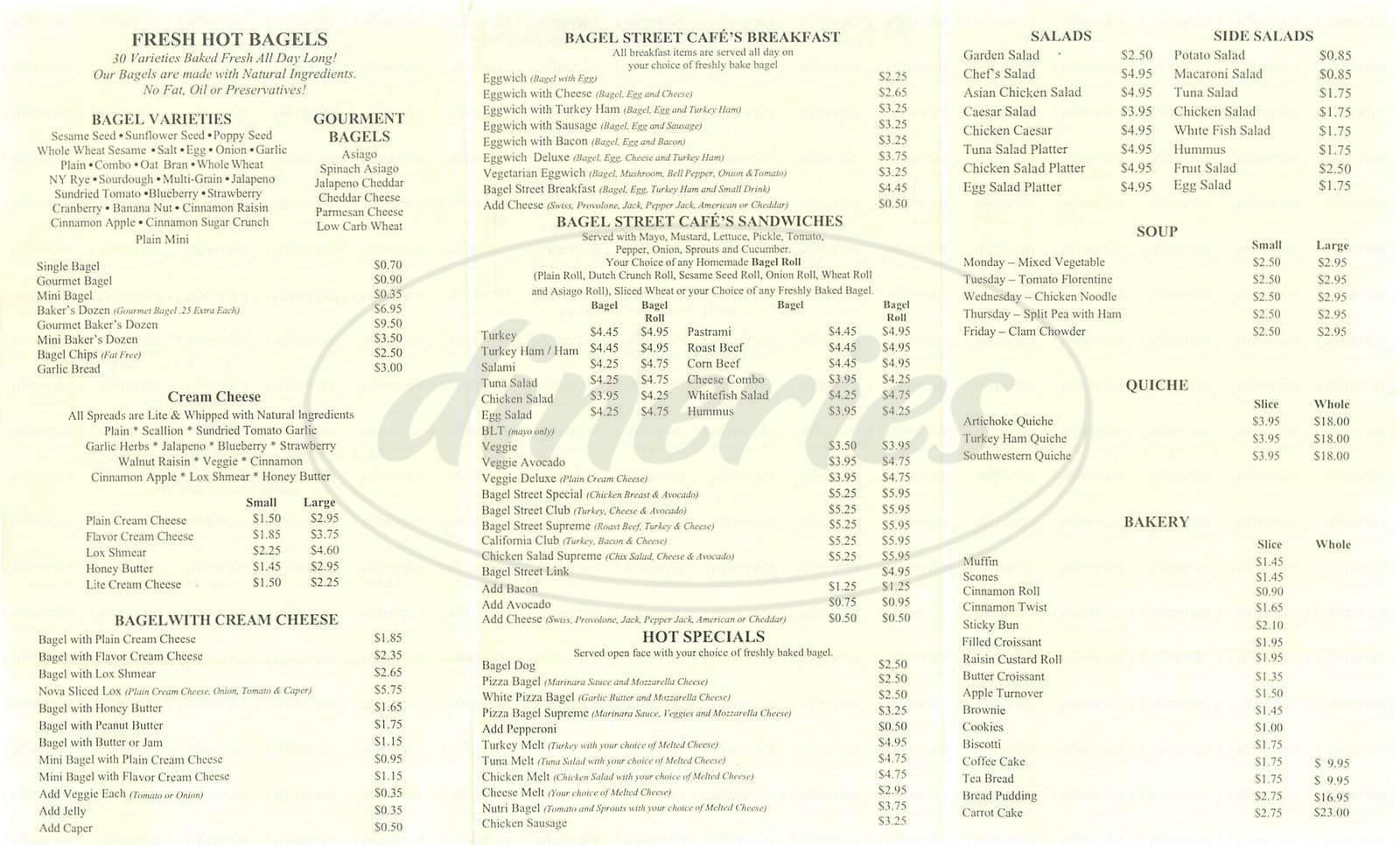 menu for Bagel St Cafe