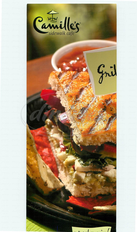 menu for Camilles Sidewalk Cafe
