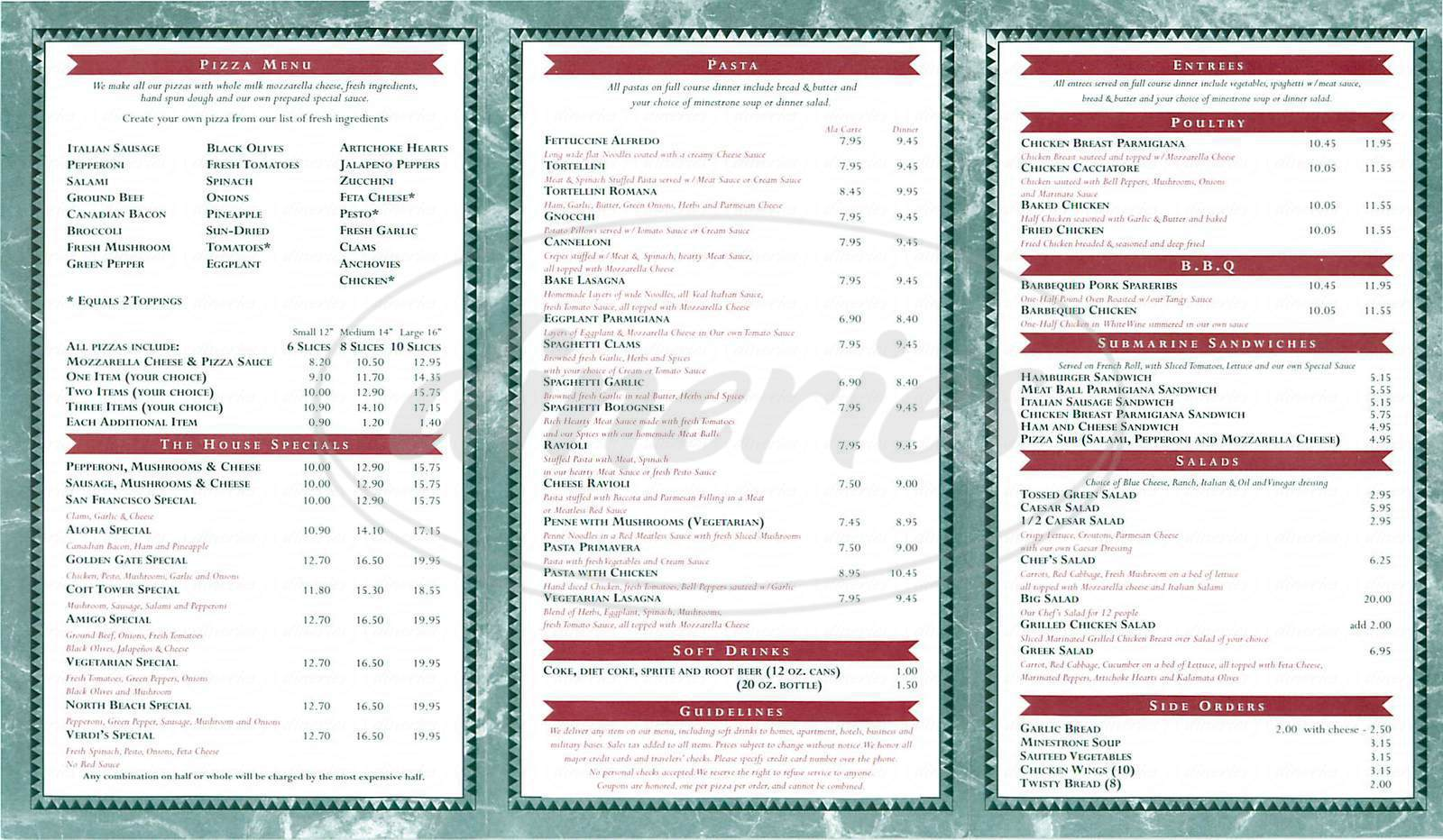 menu for North Beach Pizza