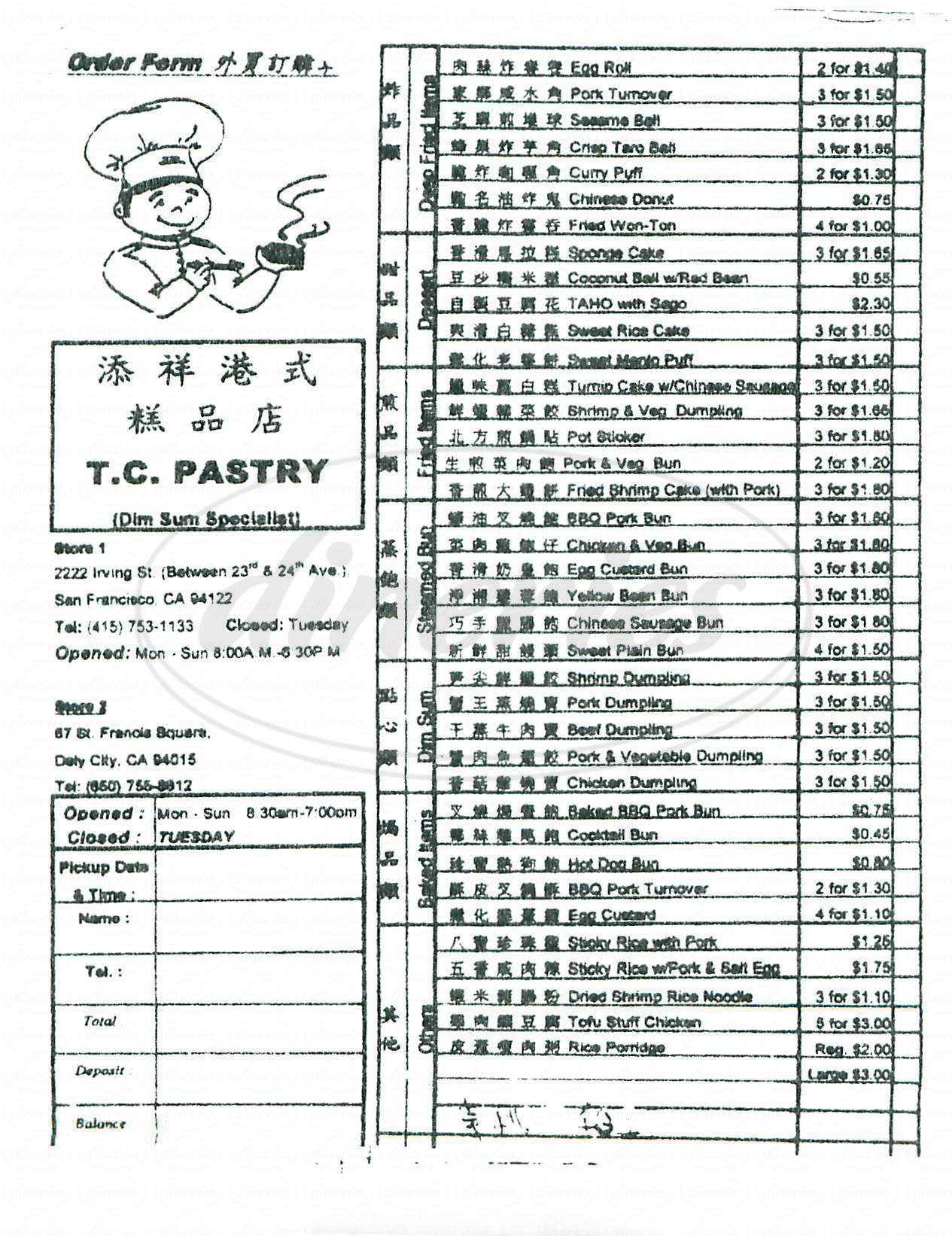 menu for TC Pastry