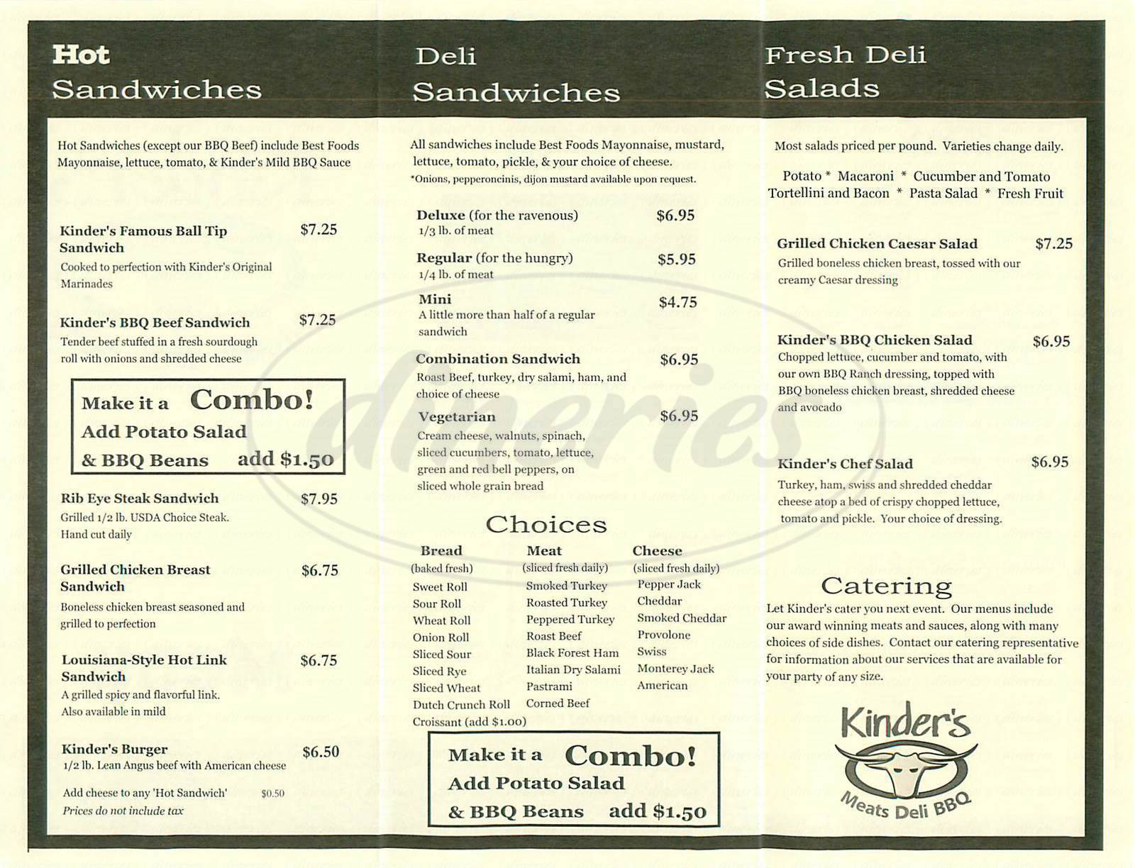 menu for Kinder's Meats