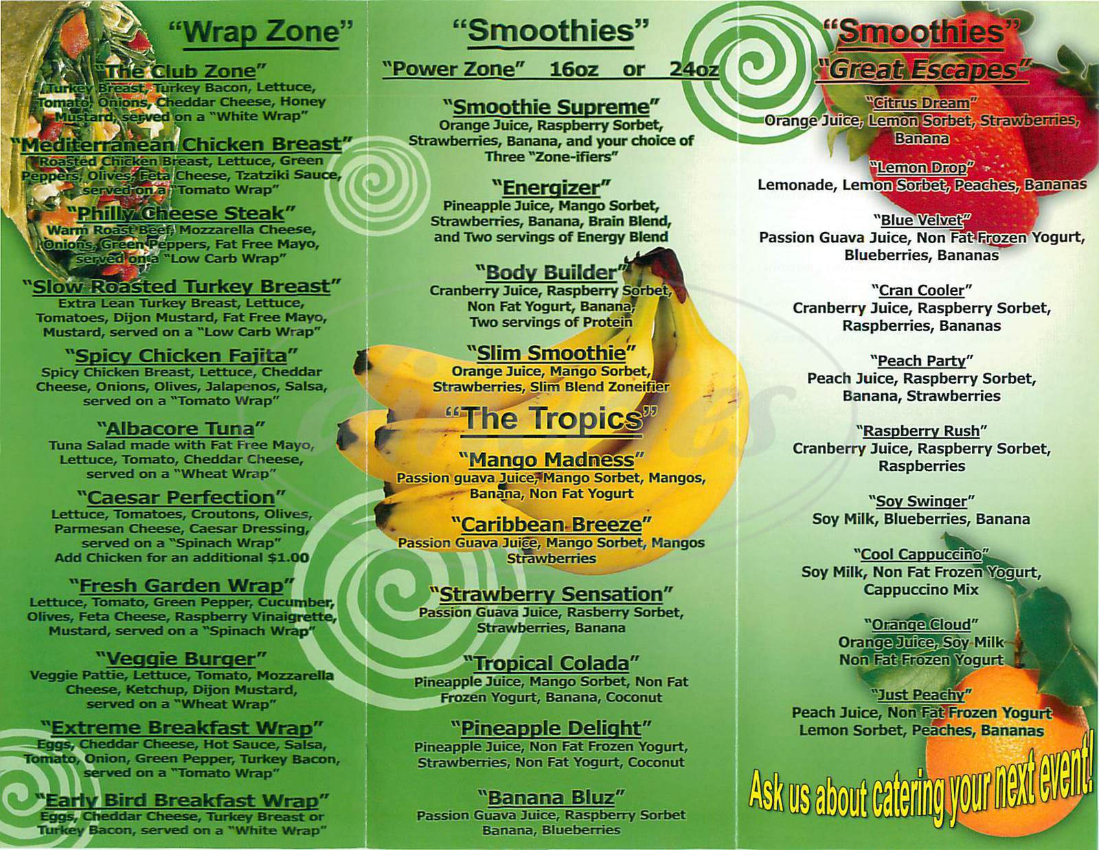 menu for Juice Zone