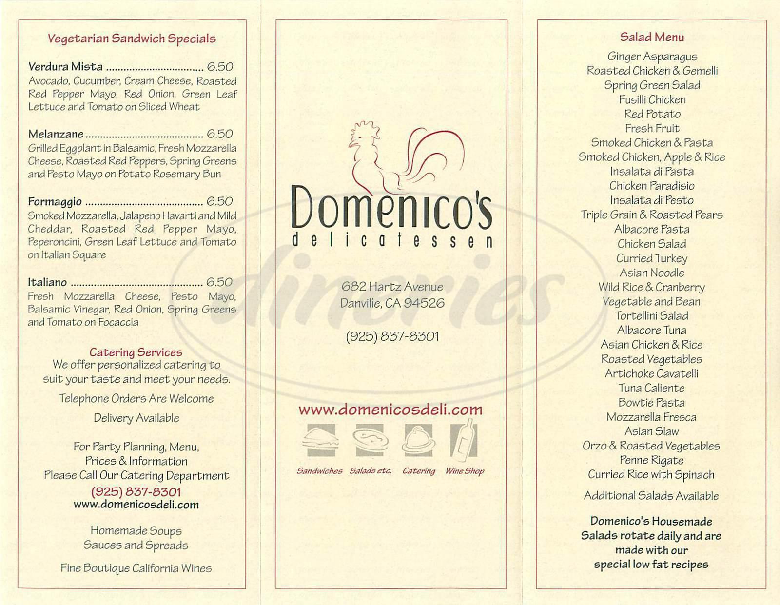 menu for Domenicos