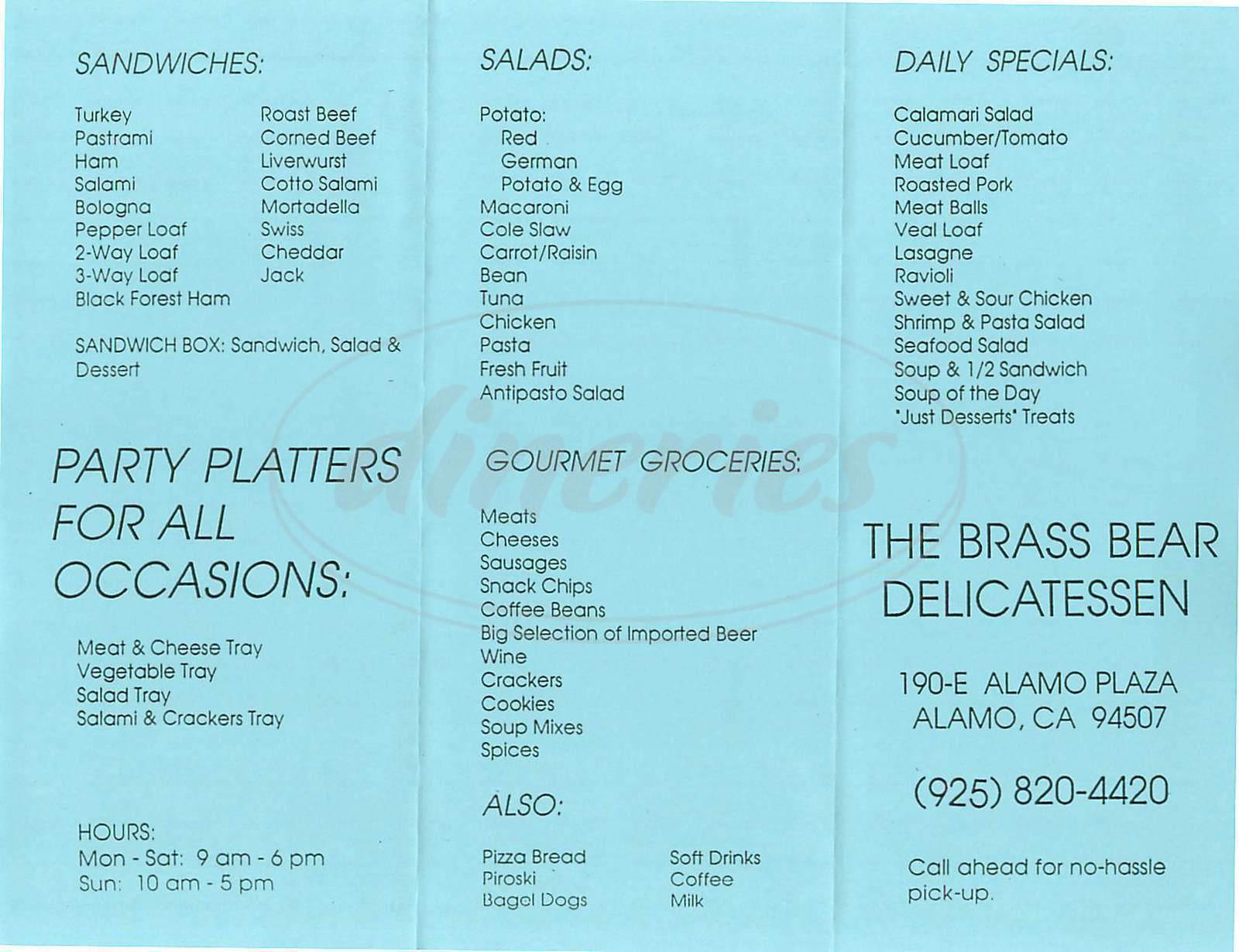 menu for The Brass Bear