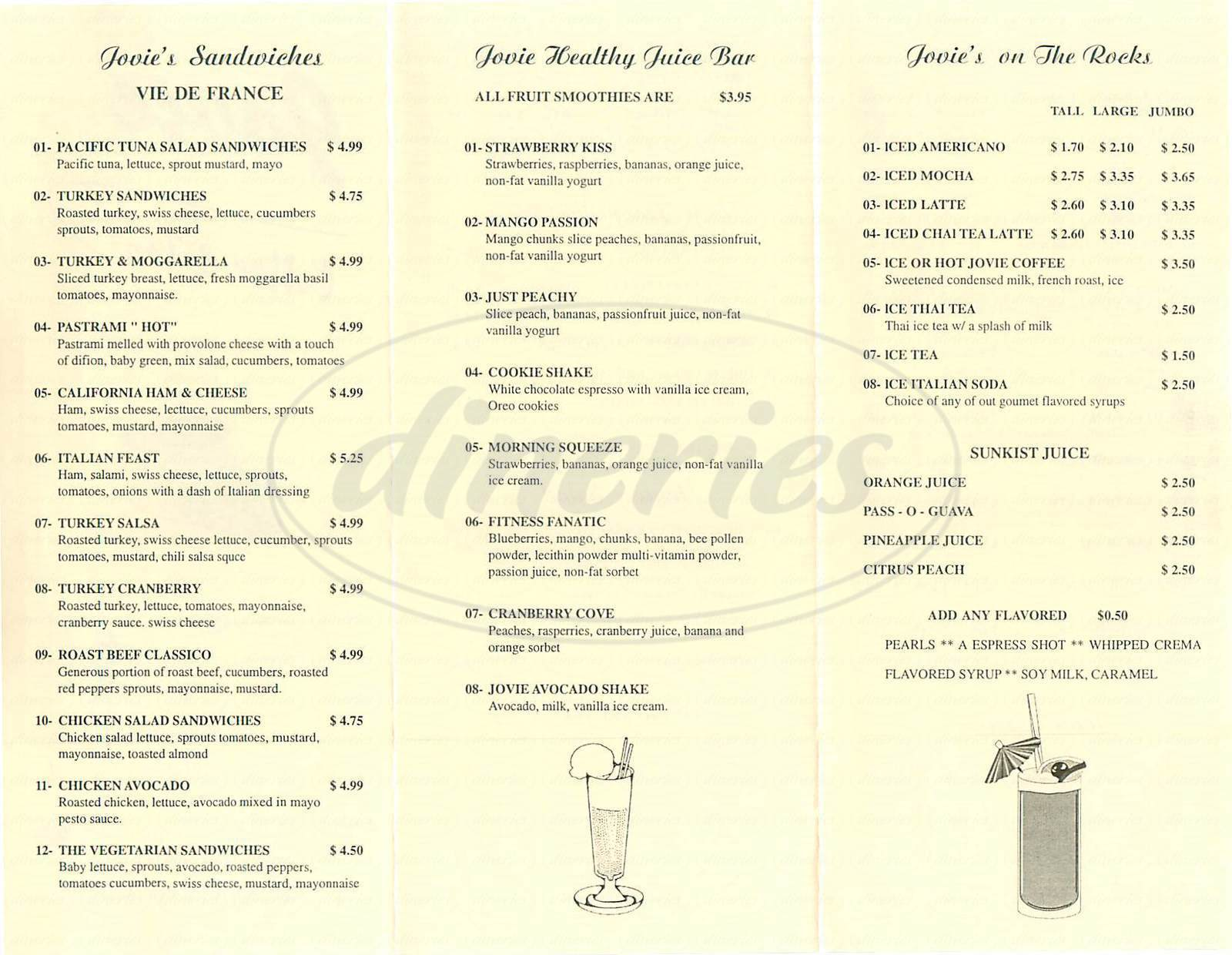menu for Jovie