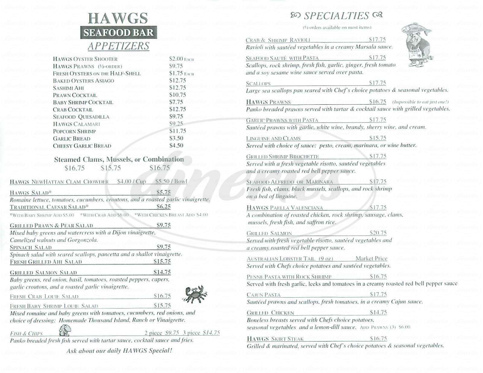menu for Hawgs Seafood Bar