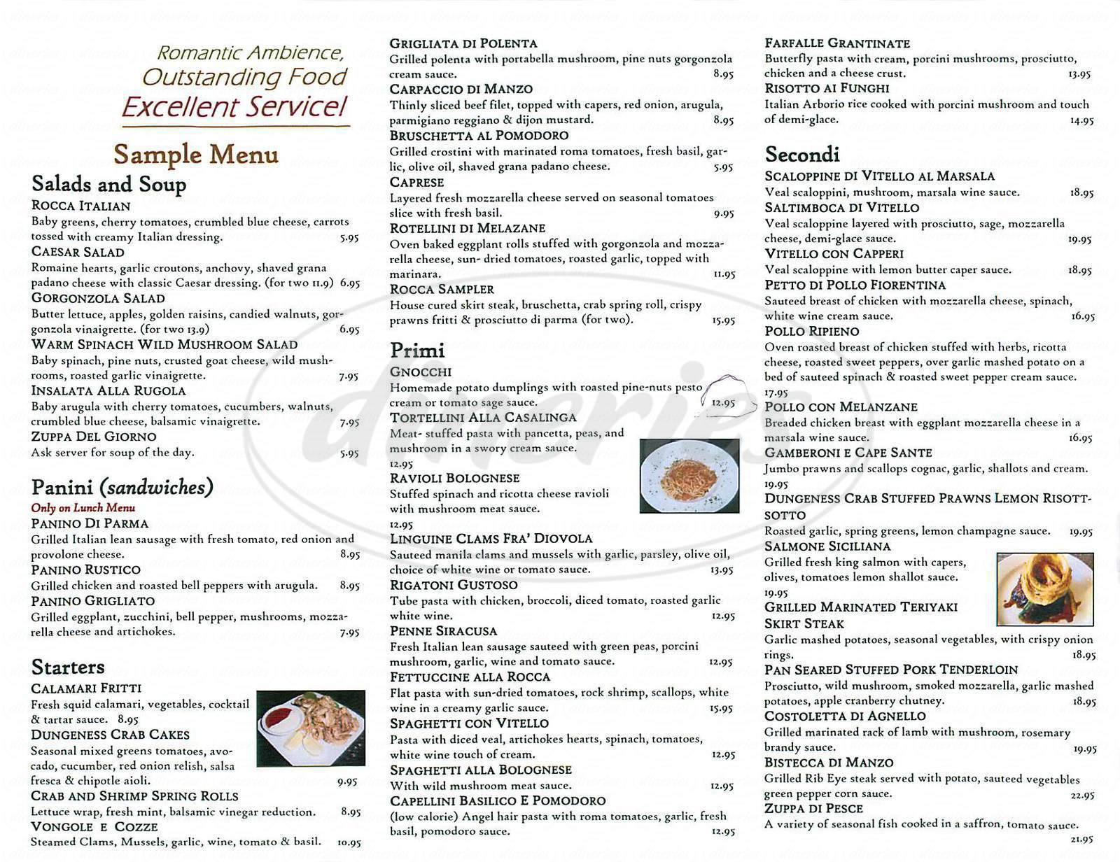 menu for Rocca Ristorante