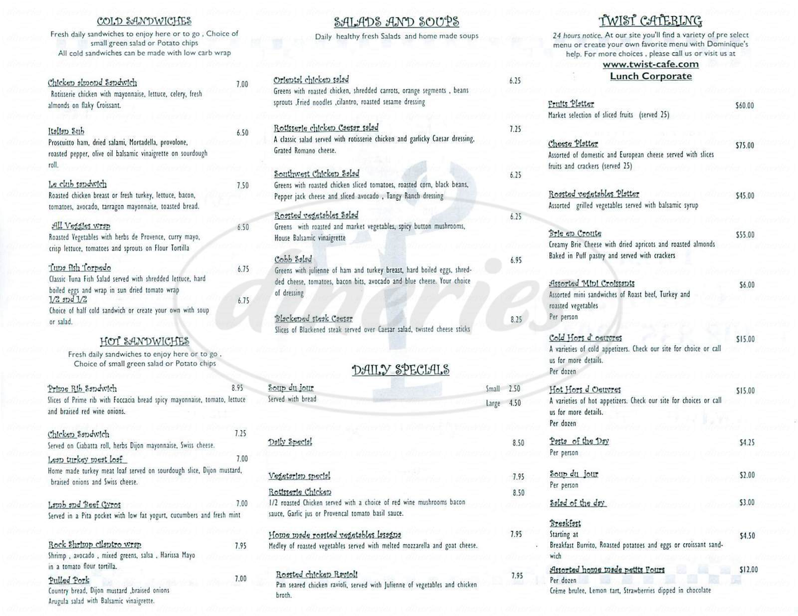 menu for Twist Cafe