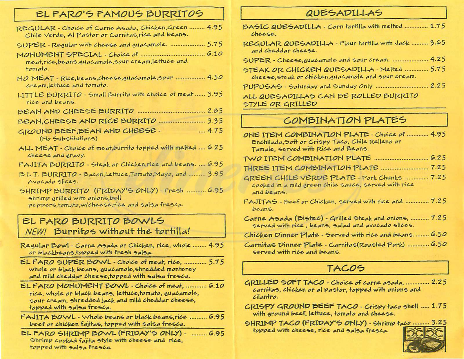 menu for El Faro