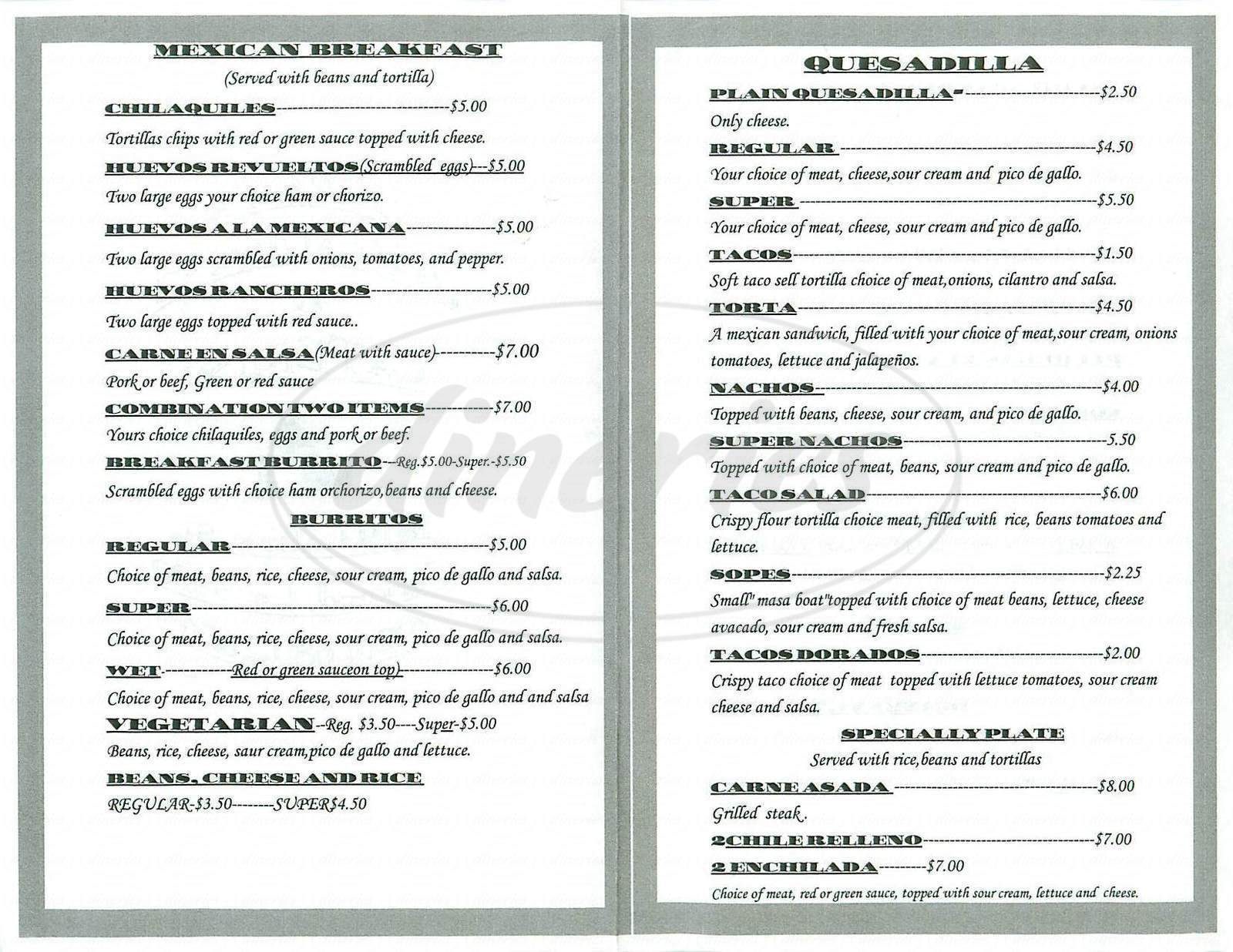 menu for Tapalpa Restaurant