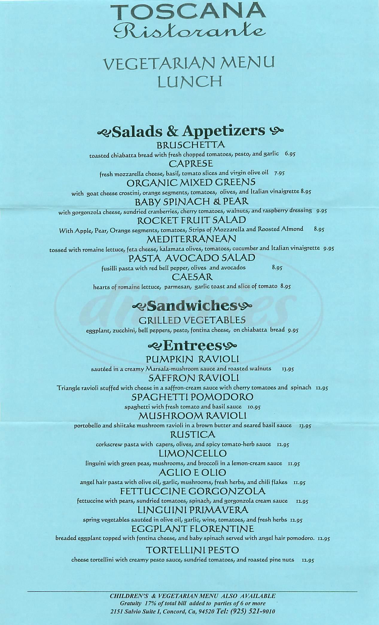 menu for Toscana Ristorante