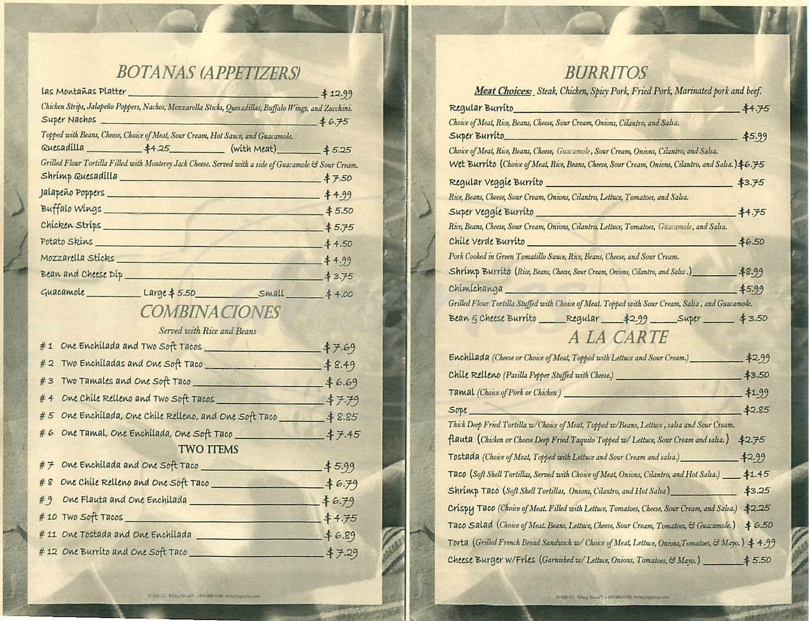 menu for Las Montanas
