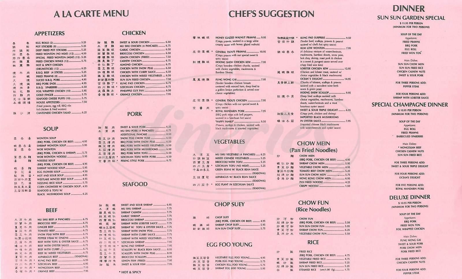 menu for Sun Sun Garden