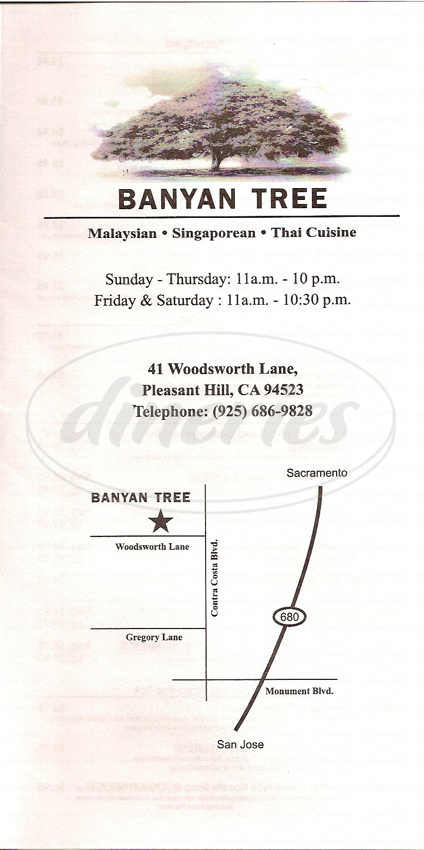 menu for Banyan Tree