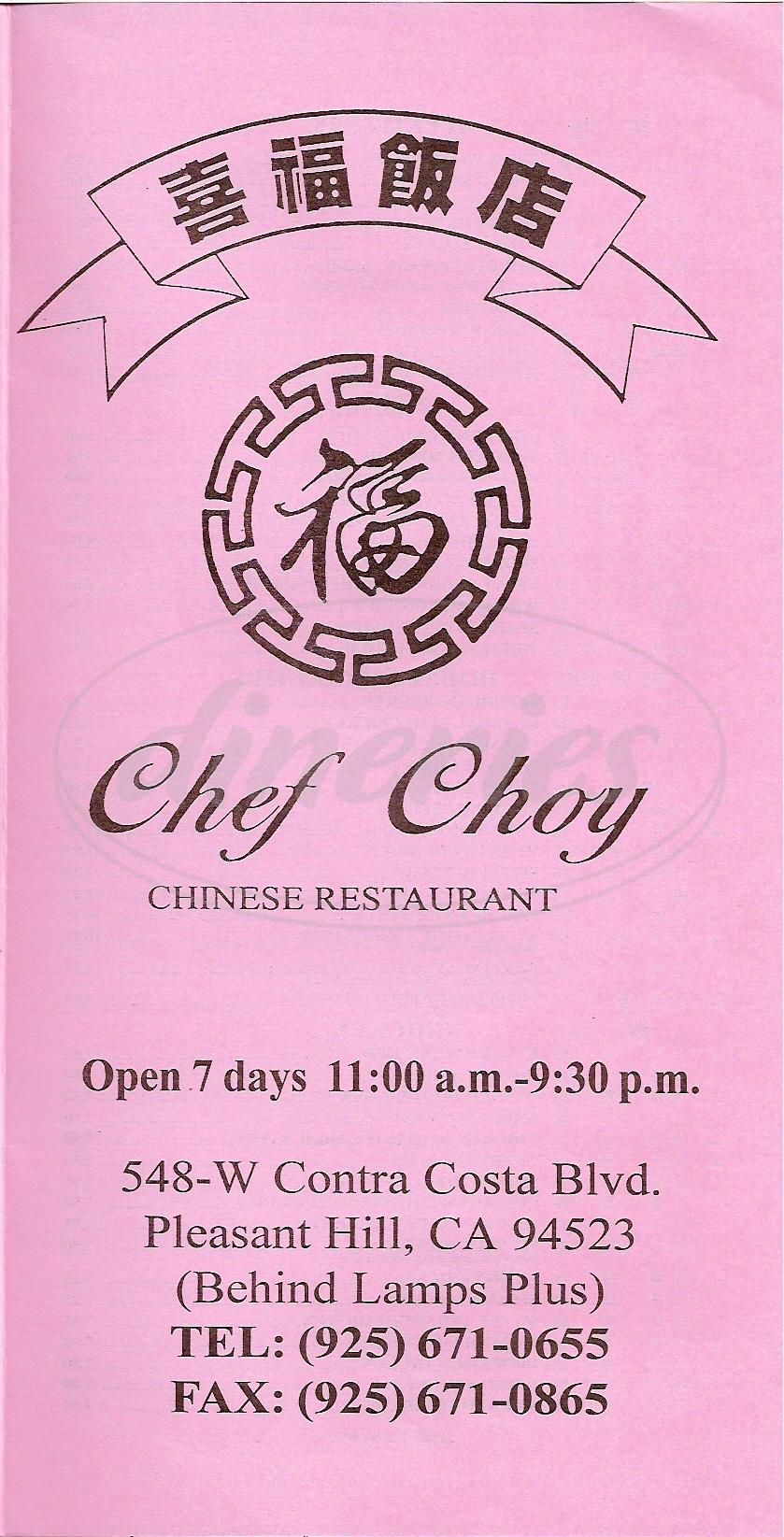 menu for Chef Choy