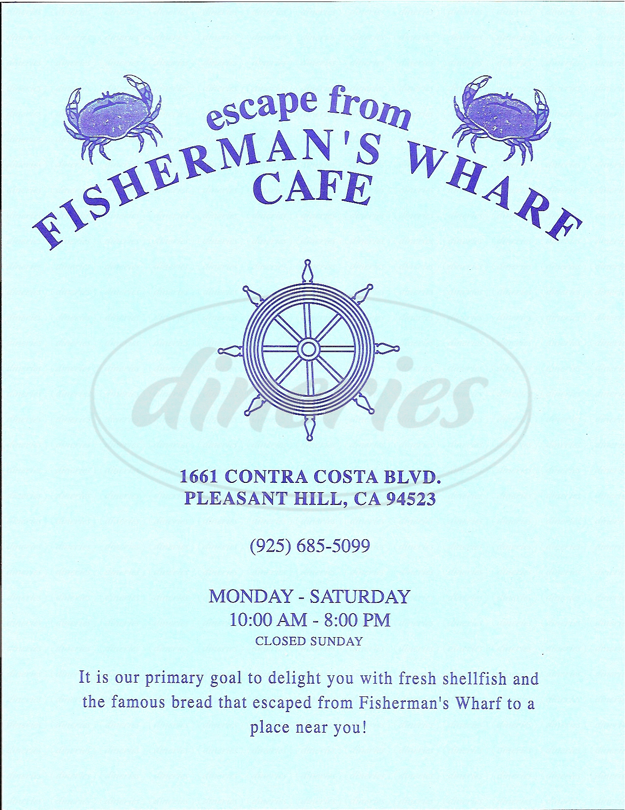 menu for Escape From Fisherman's Wharf Cafe