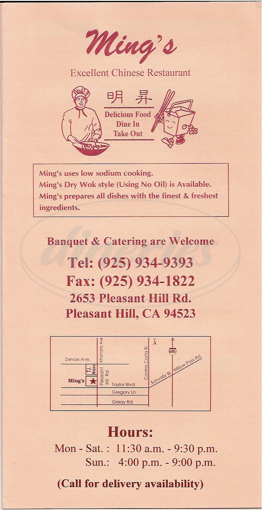 menu for Ming's