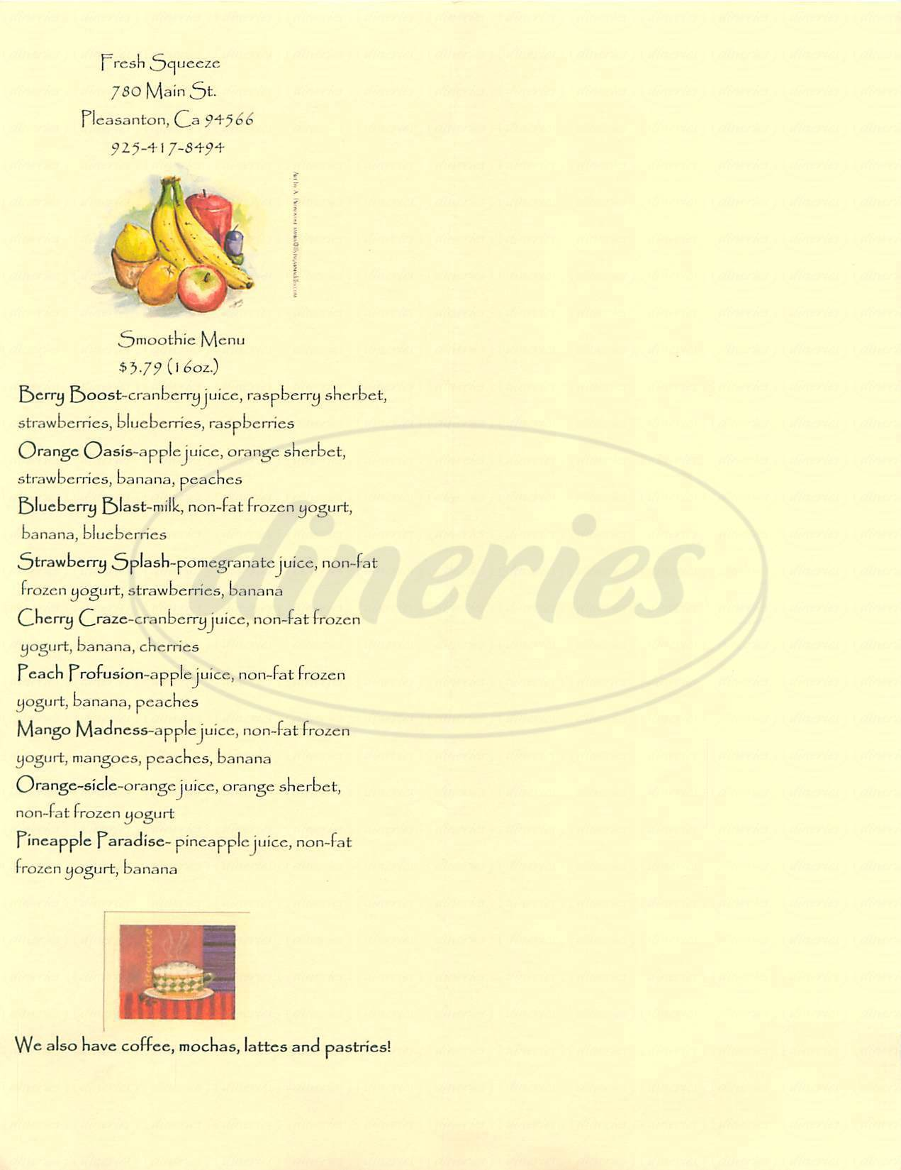 menu for Fresh Squeeze