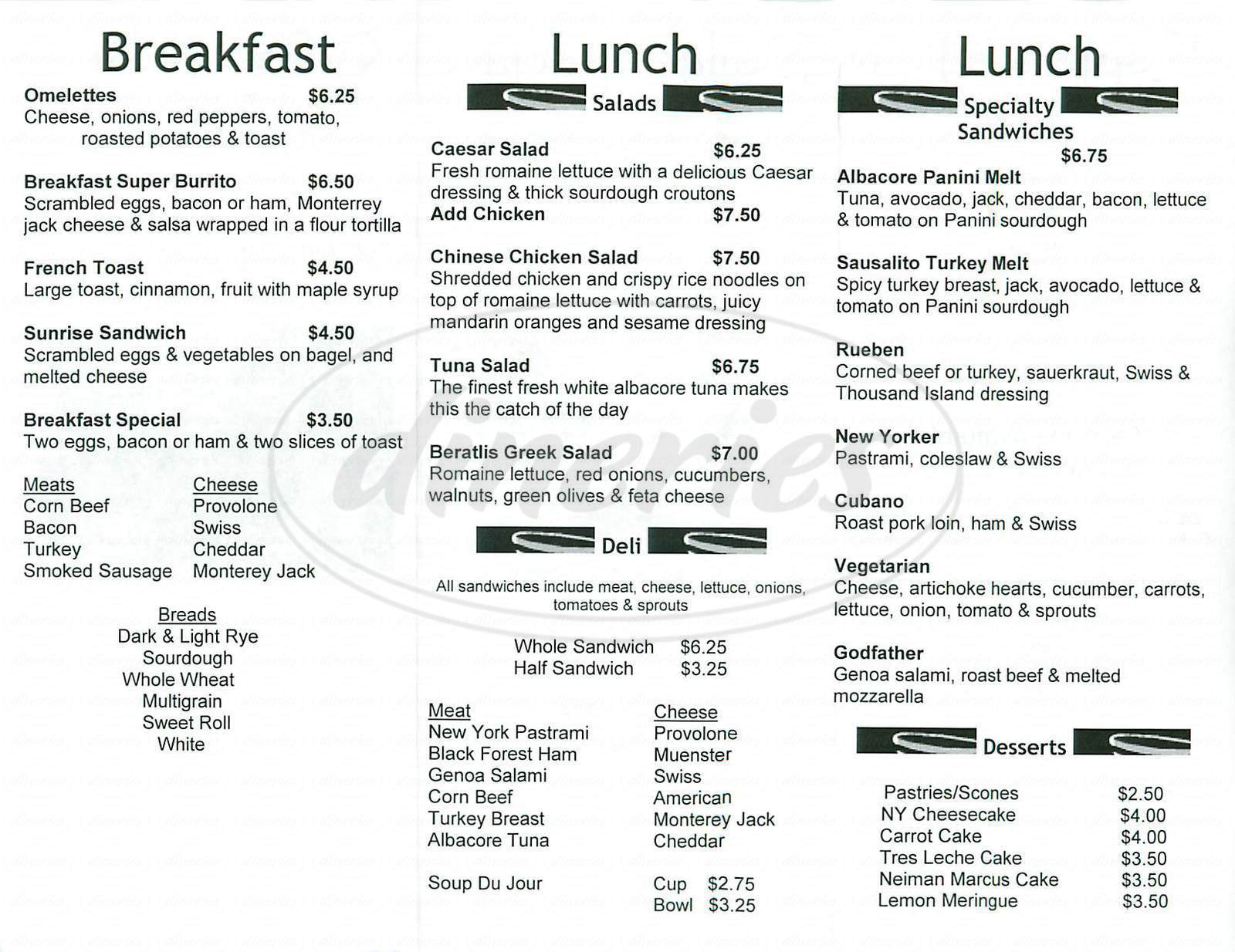 menu for Coffee Beans & Bistro