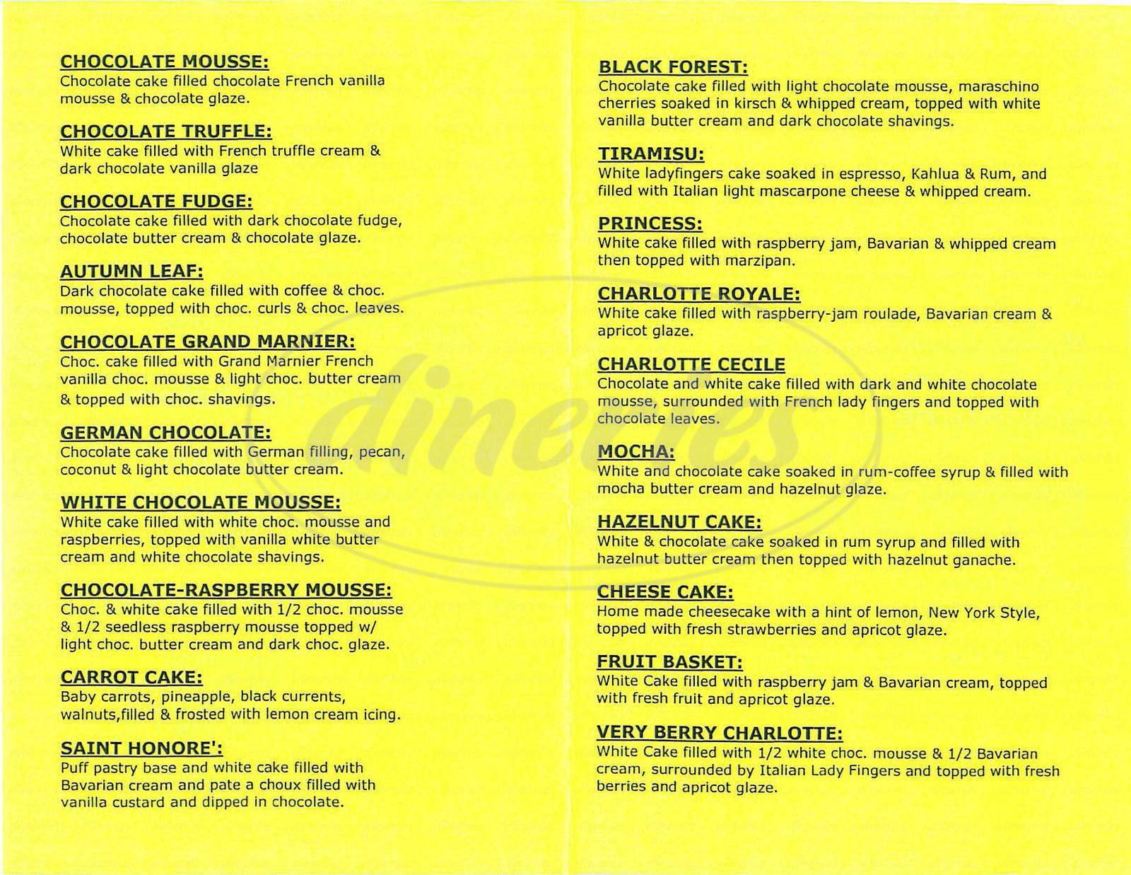menu for Primrose Bakery
