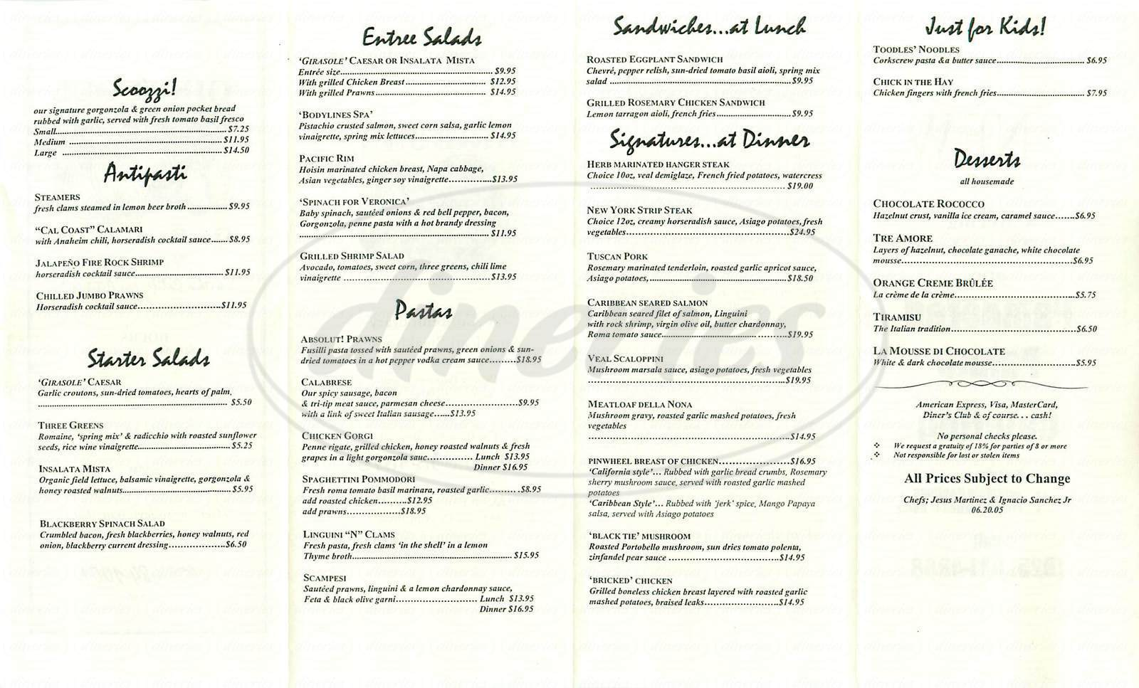 menu for Girasole Grill
