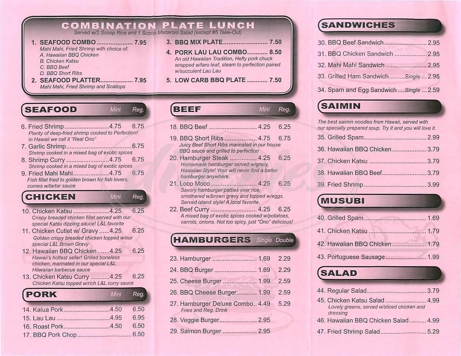 menu for L & L Hawaiian Barbecue