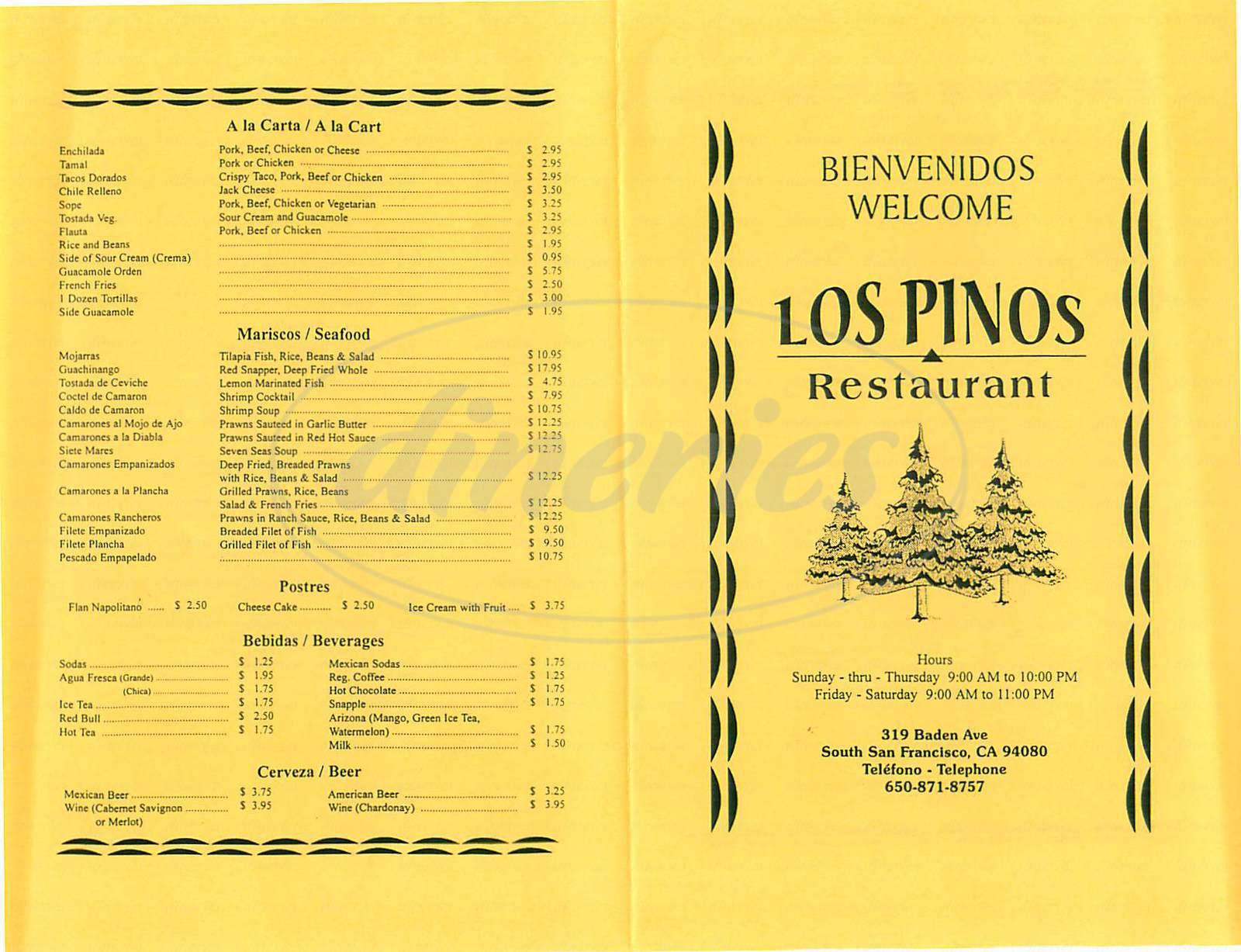 menu for Los Pinos