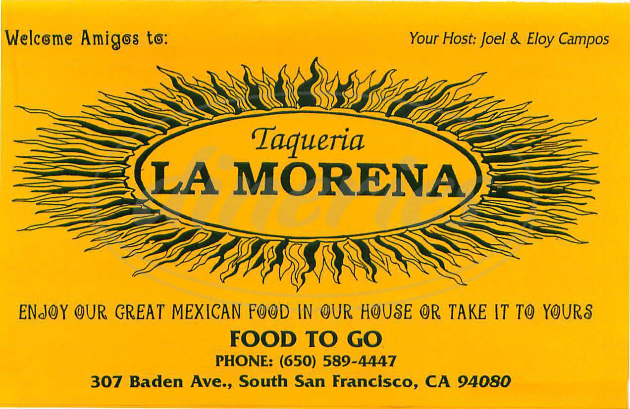 menu for Taqueria La Morena