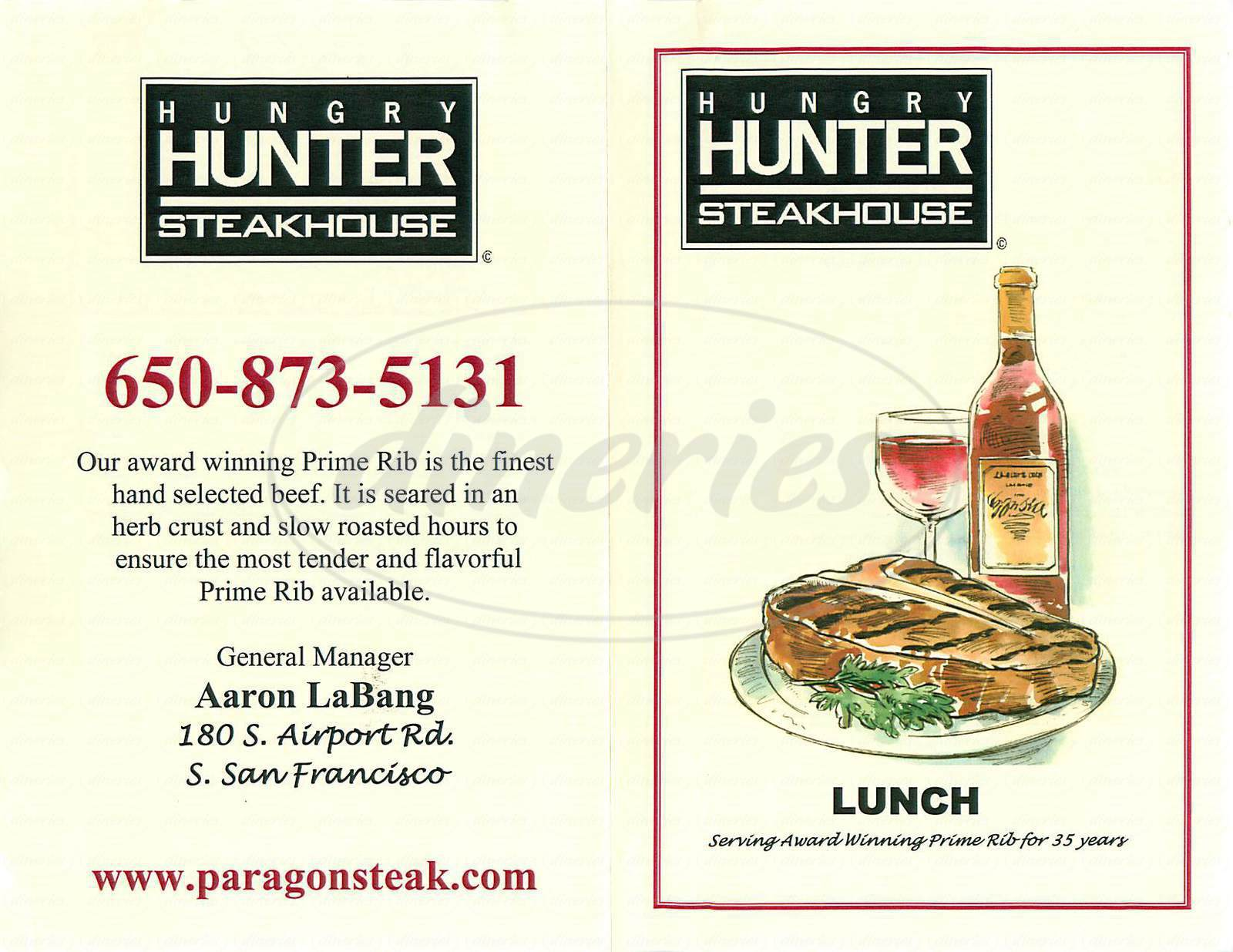 menu for Hungry Hunter Steakhouse