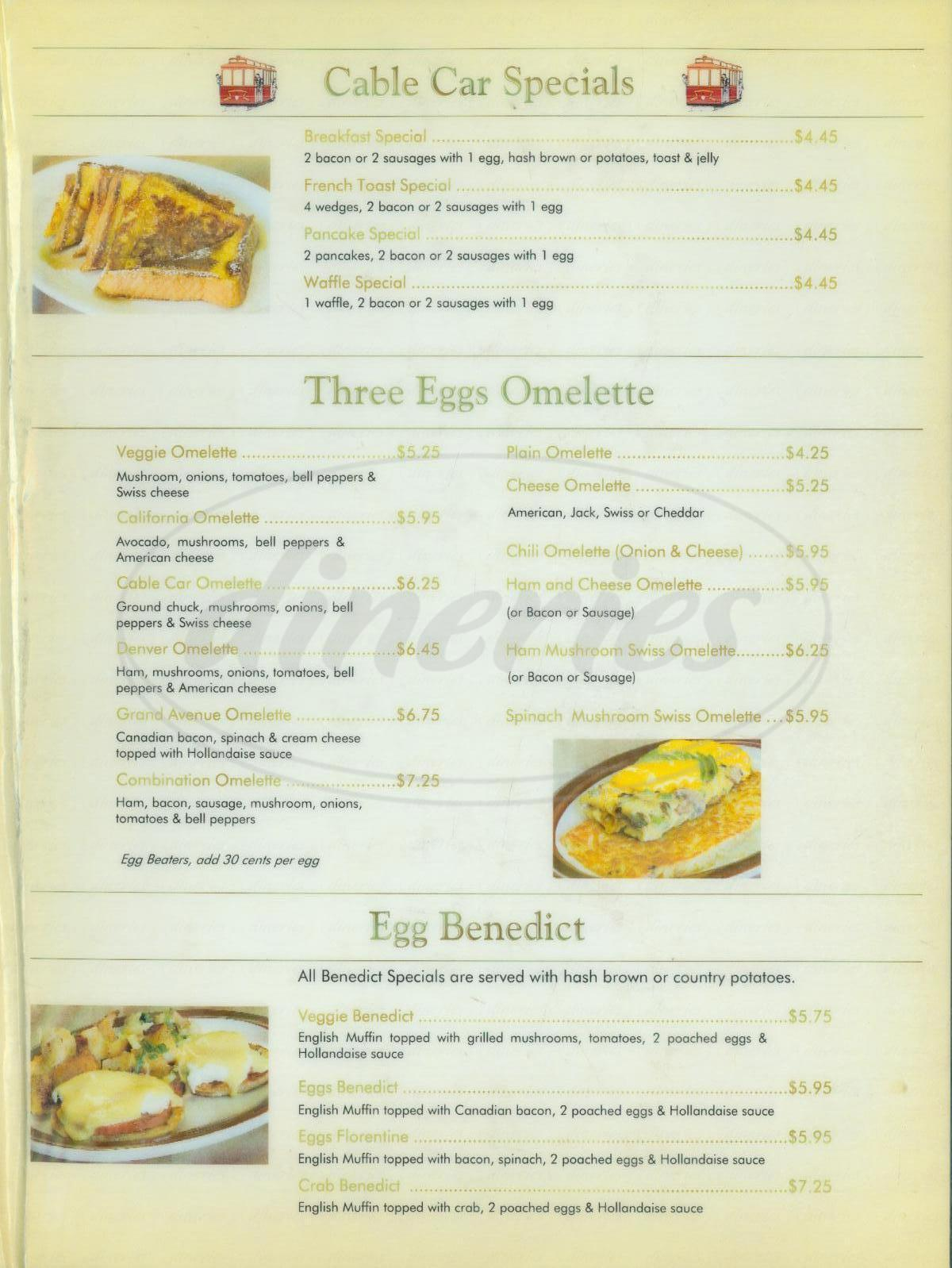 menu for Cable Car Cafe