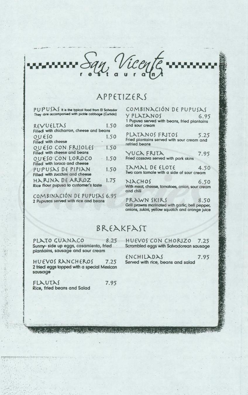 menu for San Vicente Restaurant