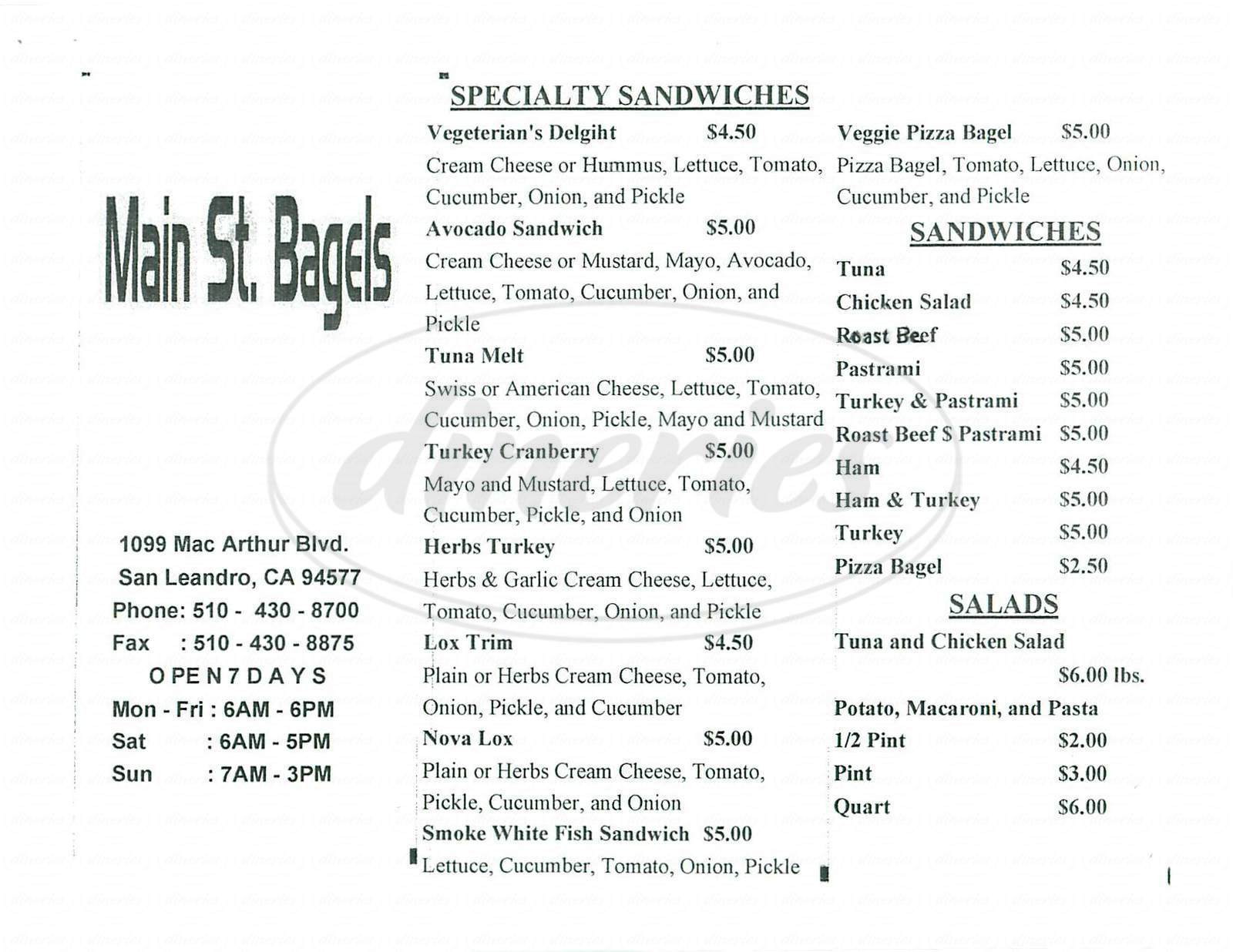 menu for Main St. Bagels