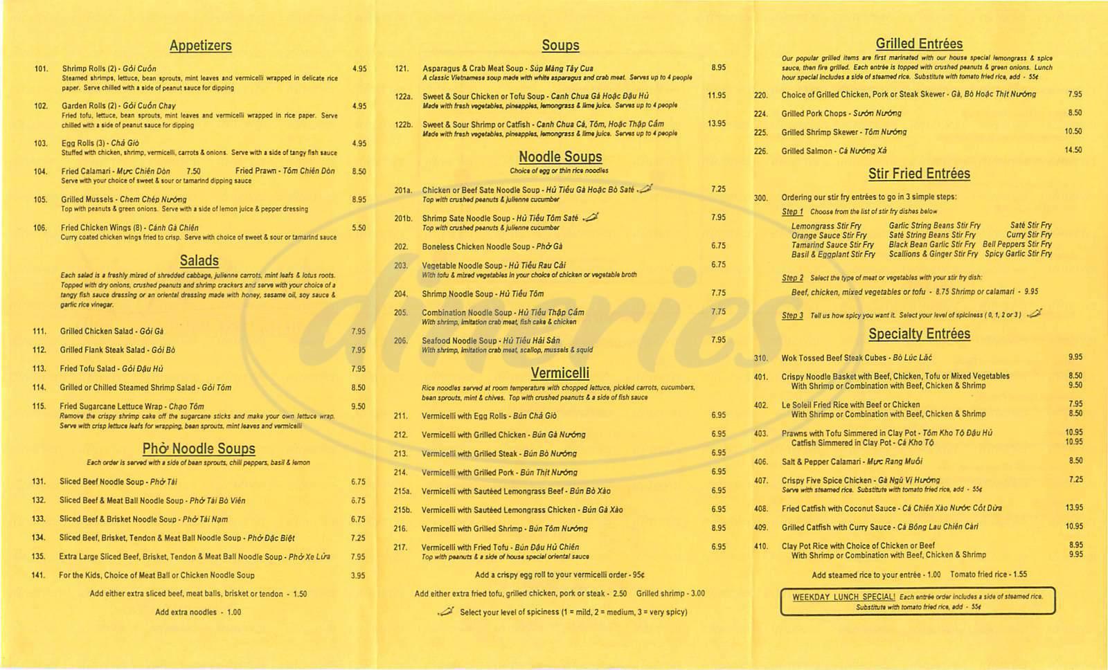 menu for Le Soleil