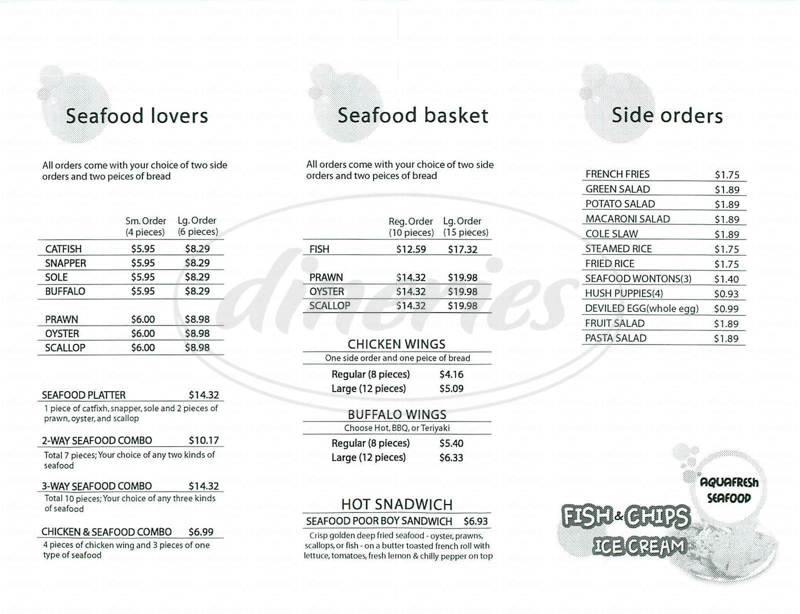 menu for Aquafresh Seafood