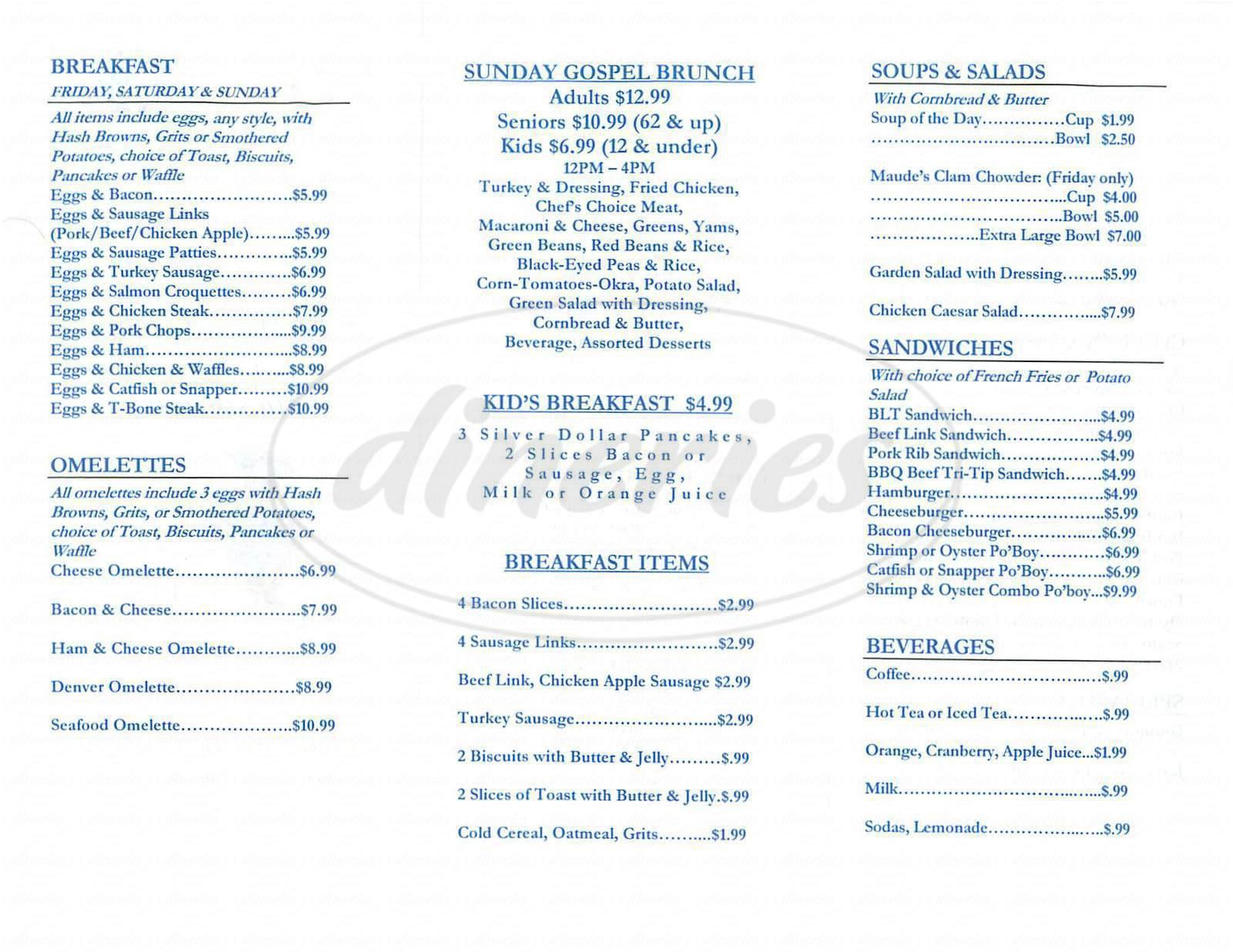 menu for Louisiana BBQ