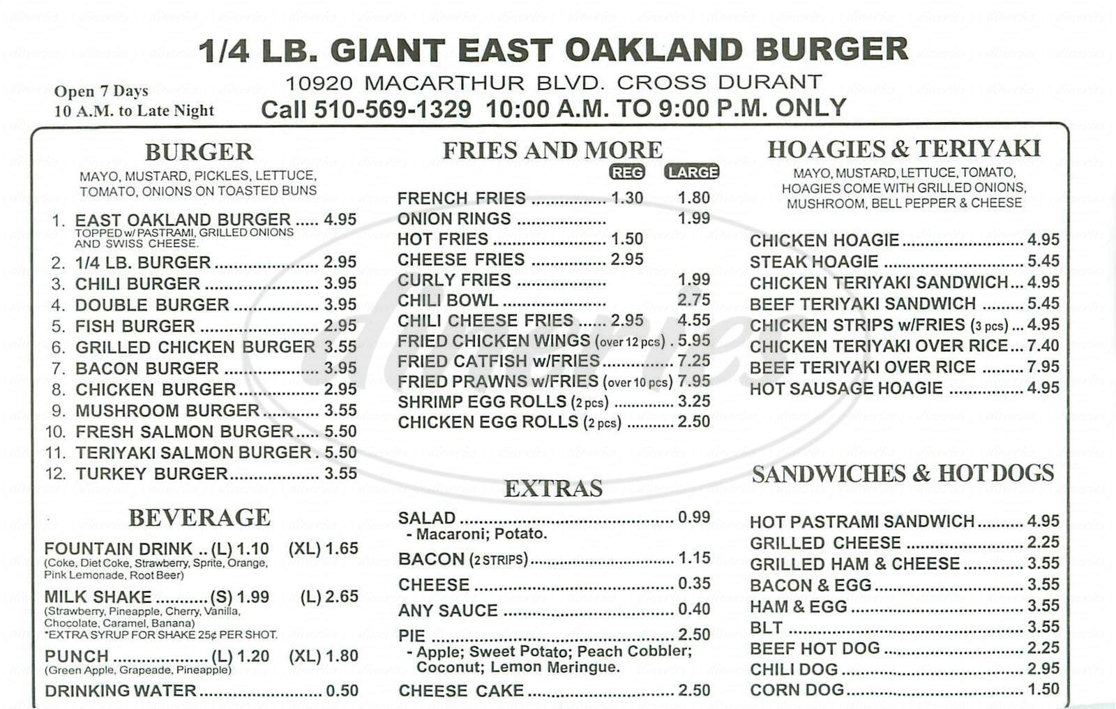 menu for Giant Burger