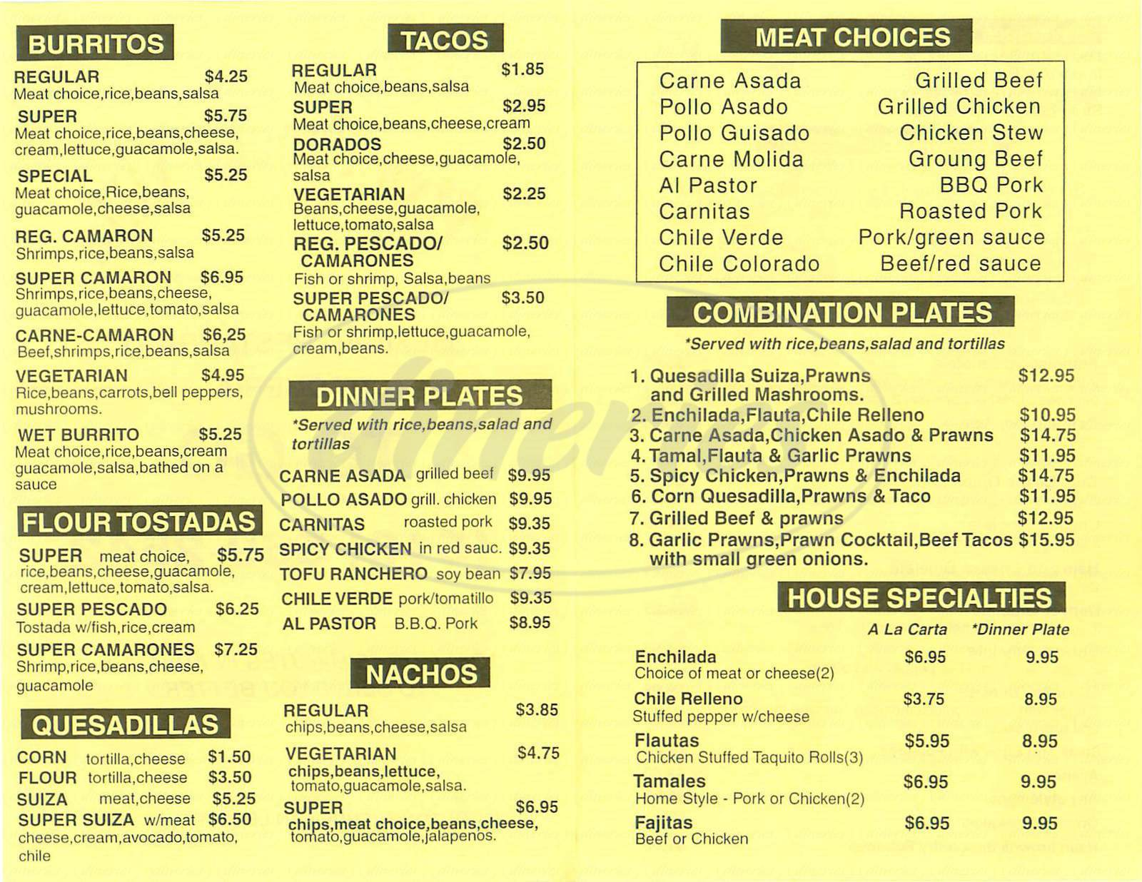 menu for Viva Pancho Villa