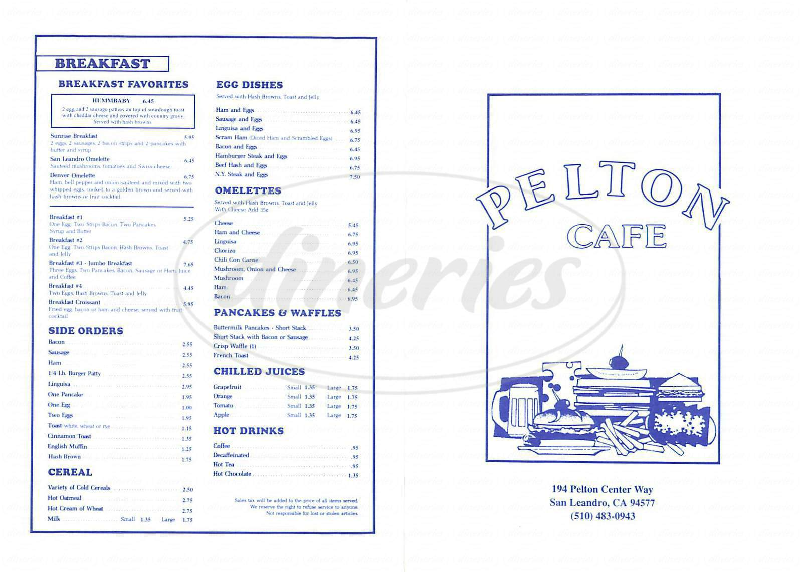 menu for Pelton Cafe