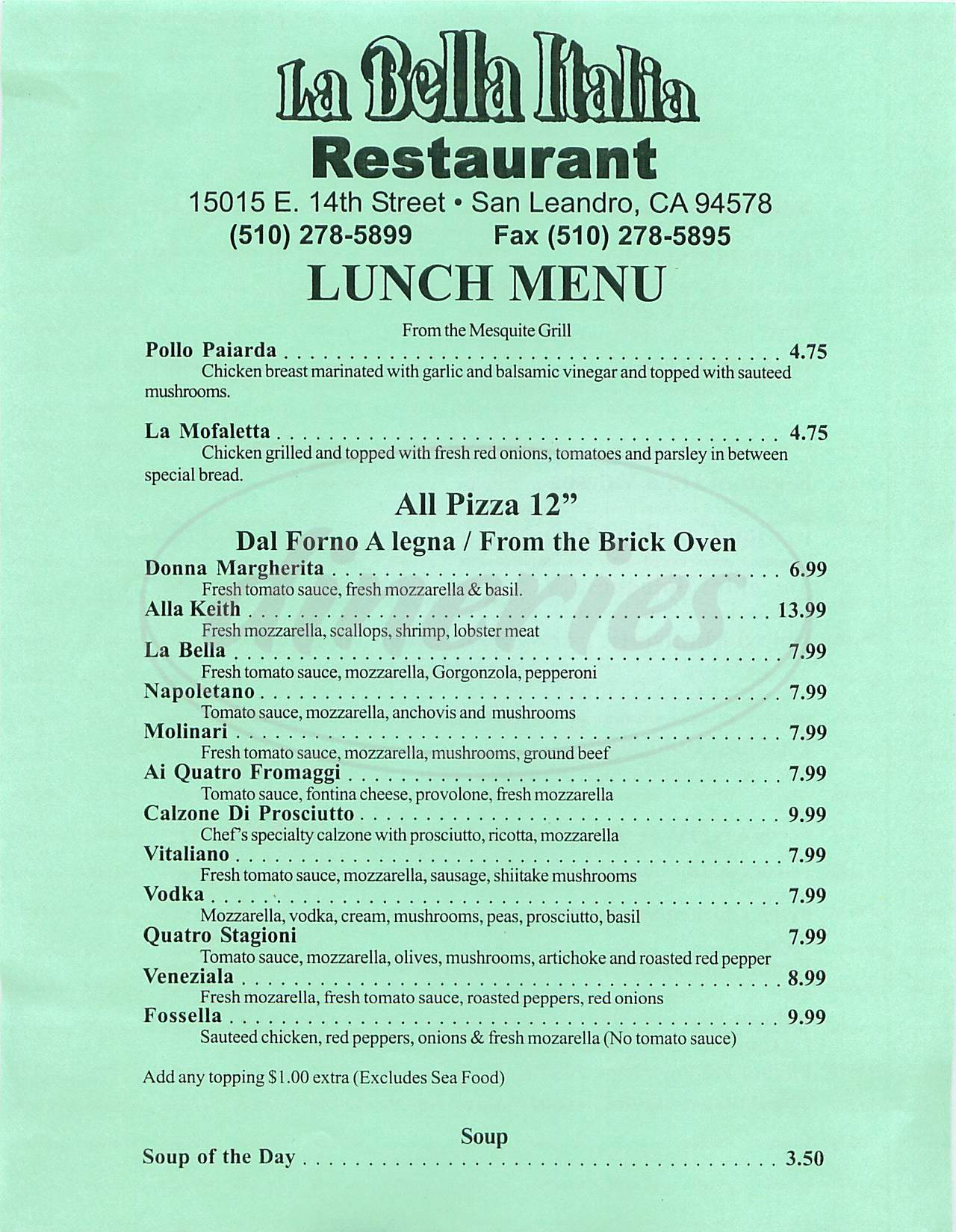 menu for La Bella Italia