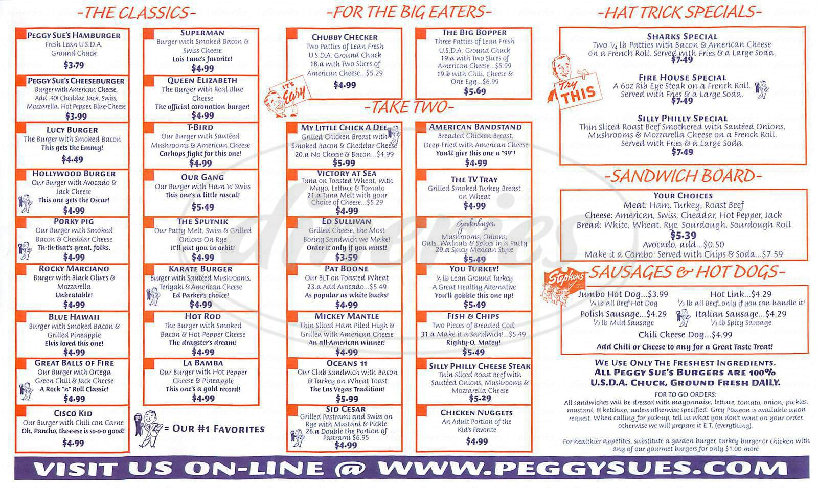 menu for Peggy Sues