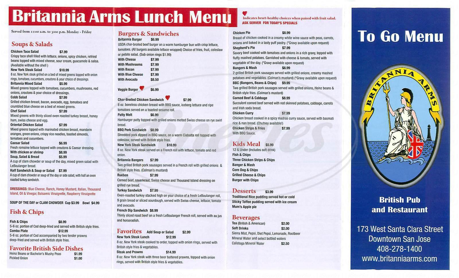menu for Britannia Arms